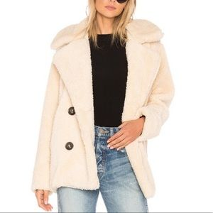 Free People Womens Off White Notched Sherpa Shearling Teddy Pea Coat Size Large